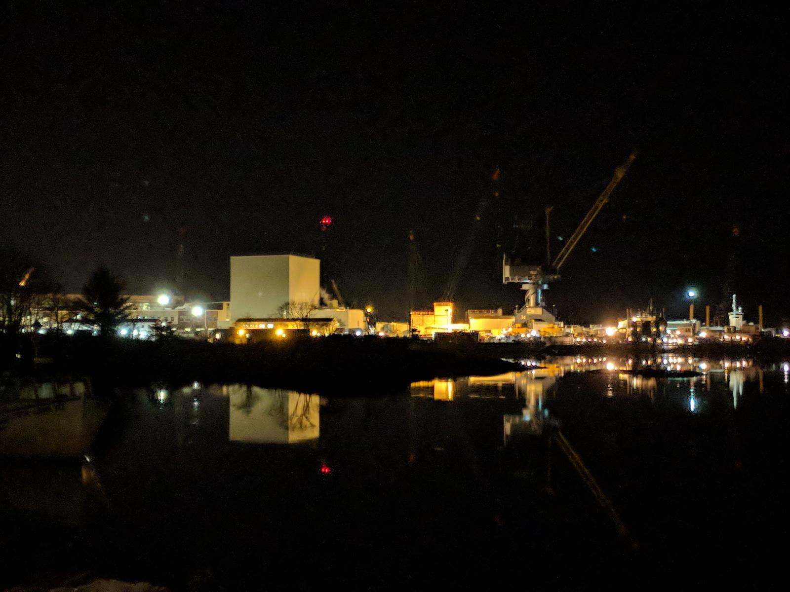 Portsmouth Naval Shipyard at night New Hampshire Anura Guruge Google Pixel 2